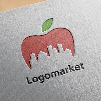 りんごと街並みと明るいのロゴ