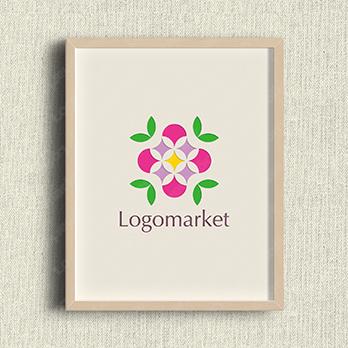 花と幾何学模様とカラフルのロゴ