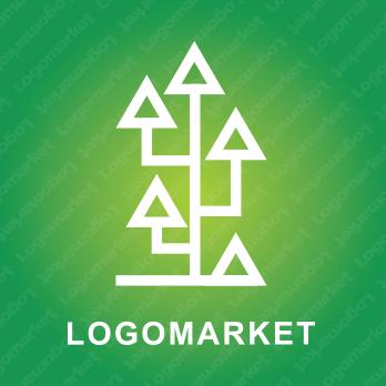 木と矢印とシンプルのロゴ